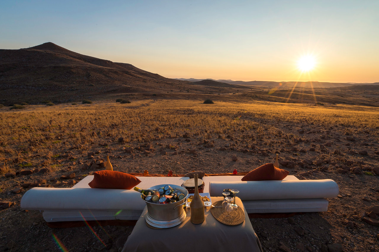 Sunset drinks at Rhino Desert Camp, Namibia