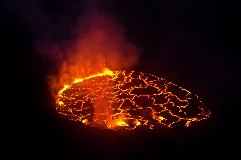 Nyiragongo Volcano Lava Lake at Virunga National Park.