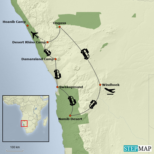 Namibia Desert Safari - Map
