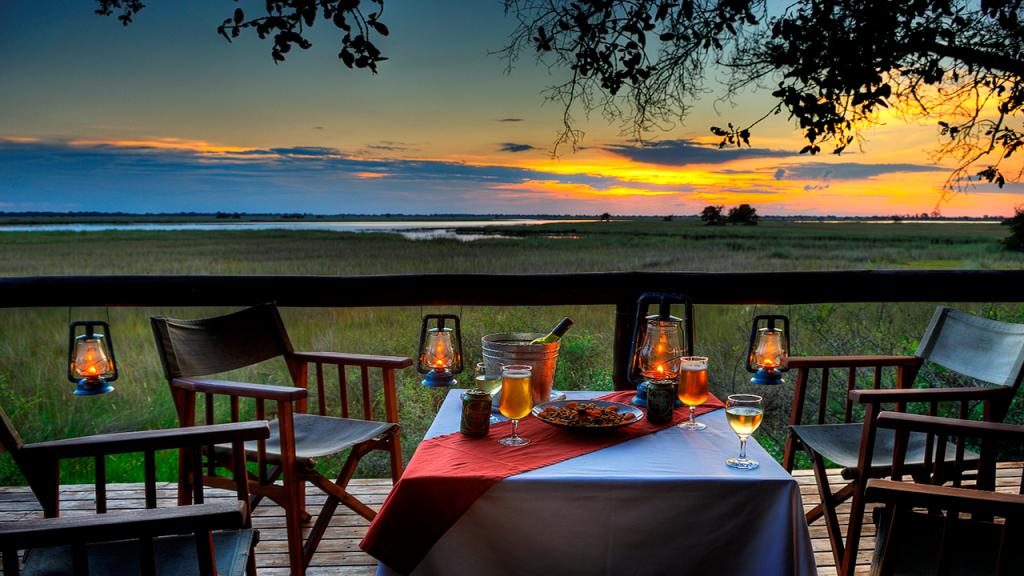 Botswana-Honeymoon-Safari---Camp-Moremi-sunset-dinner