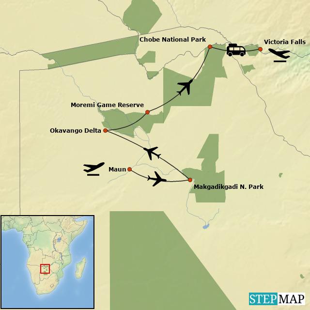 Botswana Honeymoon Safari - Map