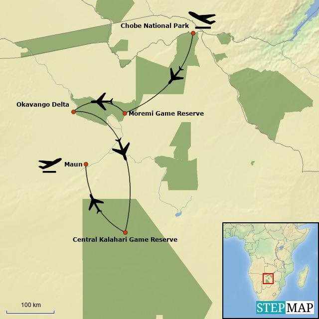 Botswana Roundabout Lodge Safari Map