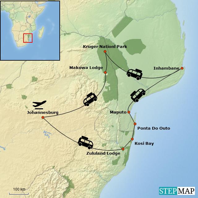 Mozambique & Kruger Beach & Bush Safari Map