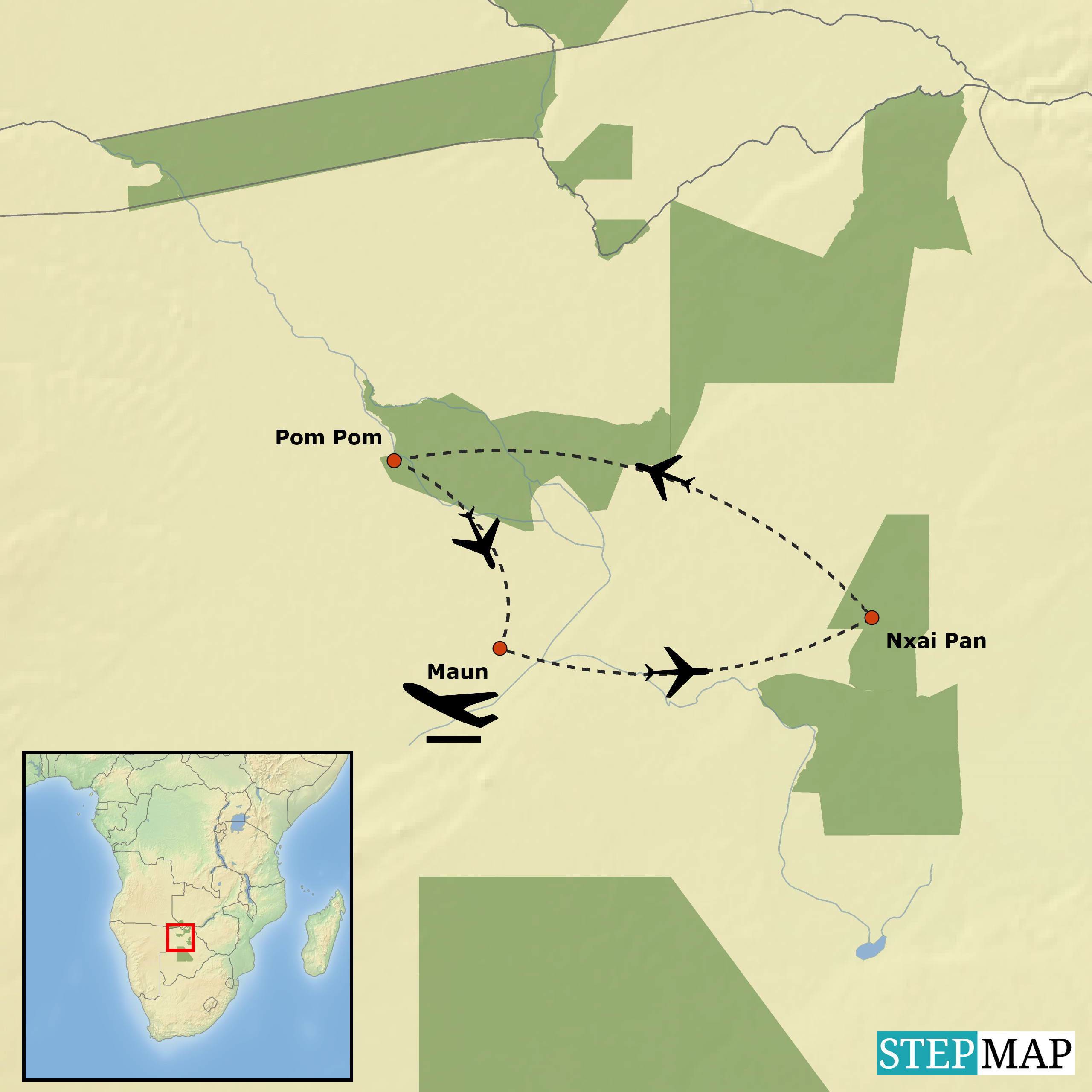 Map-Nxai-Pan-National-Park-Okavango-Delta-6-night-SADC-Special